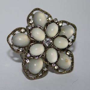 Large gold and white cz flower ring adjustable